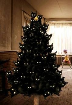 cat xmas tree